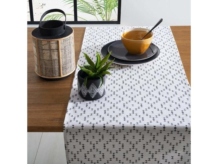 Zestaw 2 kontrastowych bawełnianych ścierek ze wzorem geometrycznym w kolorze bieli i jeansu