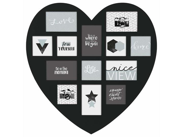 Ramka na zdjęcia w kształcie serca, 13 miejsc, kolor czarny