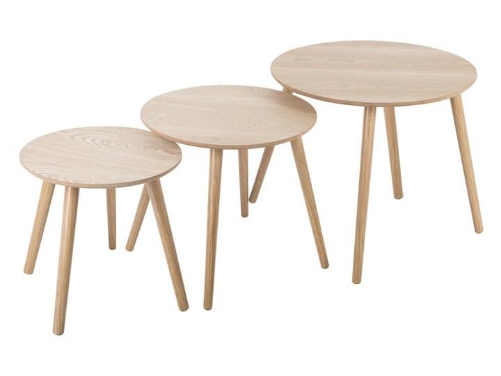 Okrągłe stoliki kawowe z drewna, 3 uniwersalne stoliczki doskonałe jako ławy do salonu lub pokoju Drewno Styl Nowoczesny Drewno Drewno Drewno Ława Styl Nowoczesny