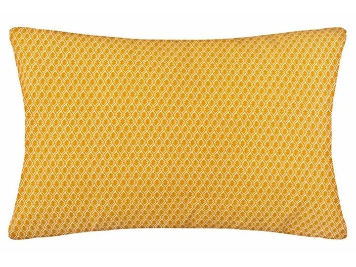 Żółta poduszka ozdobna z modnym wzorem, prostokątna poducha dekoracyjna w unikatowym odcieniu ochry