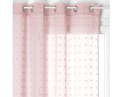 Firana gotowa na przelotkach, 140 x 240 cm, różowa z kropeczkami