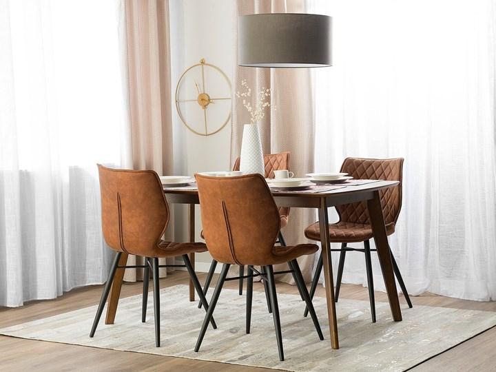 Zestaw 2 krzeseł brązowych tapicerowanych z metalowymi czarnymi nogami do jadalni styl nowoczesny industrialny Wysokość 86 cm Drewno Szerokość 44 cm Głębokość 56 cm Tapicerowane Tkanina Tworzywo sztuczne Pikowane Pomieszczenie Jadalnia