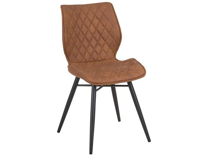 Zestaw 2 krzeseł brązowych tapicerowanych z metalowymi czarnymi nogami do jadalni styl nowoczesny industrialny Tkanina Pomieszczenie Jadalnia Pikowane Tworzywo sztuczne Głębokość 56 cm Tapicerowane Drewno Wysokość 86 cm Szerokość 44 cm Styl Vintage