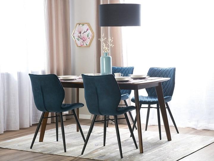 Zestaw 2 krzeseł niebieskich tapicerowanych z metalowymi czarnymi nogami do jadalni styl nowoczesny industrialny Tapicerowane Tkanina Tworzywo sztuczne Głębokość 56 cm Wysokość 86 cm Pikowane Szerokość 44 cm Styl Vintage Drewno Pomieszczenie Jadalnia