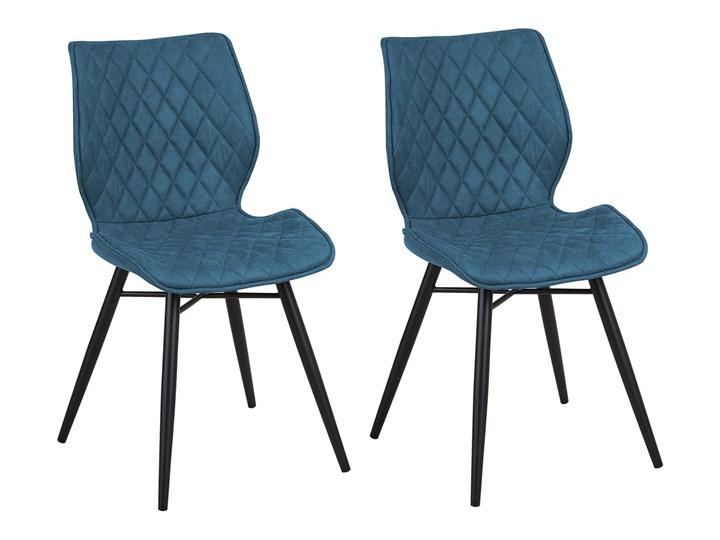 Zestaw 2 krzeseł niebieskich tapicerowanych z metalowymi czarnymi nogami do jadalni styl nowoczesny industrialny Tkanina Głębokość 56 cm Tworzywo sztuczne Drewno Szerokość 44 cm Wysokość 86 cm Pikowane Tapicerowane Pomieszczenie Jadalnia