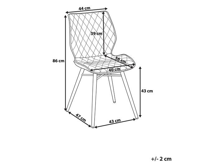 Zestaw 2 krzeseł niebieskich tapicerowanych z metalowymi czarnymi nogami do jadalni styl nowoczesny industrialny Szerokość 44 cm Tkanina Wysokość 86 cm Tapicerowane Tworzywo sztuczne Pikowane Głębokość 56 cm Styl Vintage Drewno Pomieszczenie Jadalnia