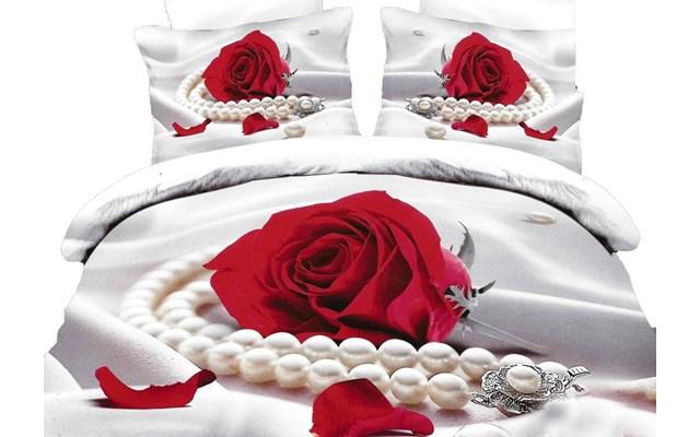 Pościel 3d Collection World Biało Czerwona W369 160x200 Cm 6 Elementowa