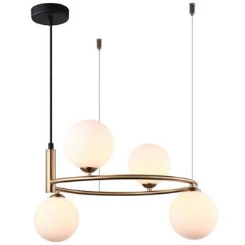 LAMPA wisząca AMILY MDM-3974/4 BRO Italux metalowa OPRAWA szklane kule ZWIS balls złote białe
