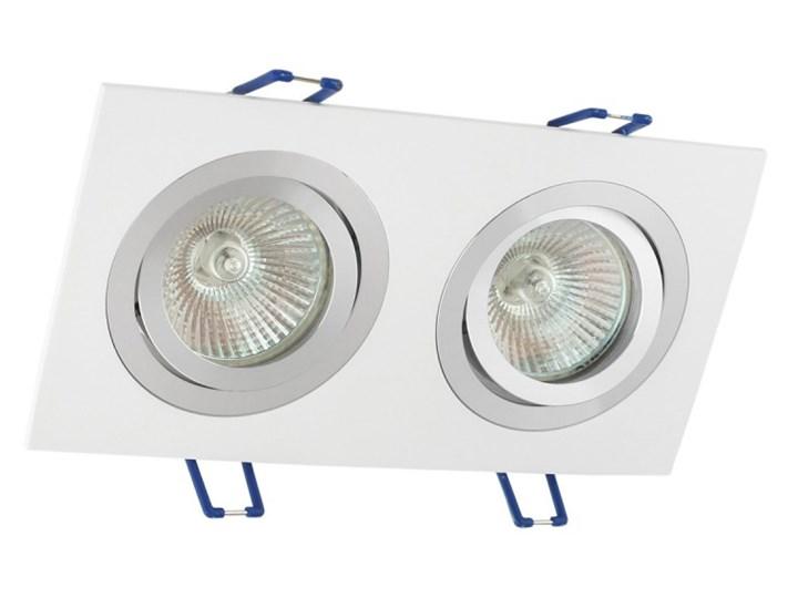 Podwójna sufitowa ruchoma podtynkowa oprawa MR16 GU10 G53 biała alu Prostokątne Oprawa halogenowa Oprawa ruchoma Kolor Biały Oprawa stropowa Kategoria Oprawy oświetleniowe