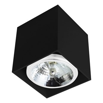 Sufitowa oprawa natynkowa kwadrat QR111 aluminium ruchoma czarna HDL111