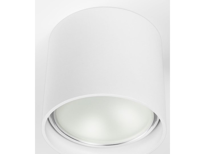 Oprawa natynkowa okrągła GU10 ES AR111 stała biała aluminiowa do domu Kolor Biały Oprawa halogenowa Oprawa stropowa Okrągłe Kategoria Oprawy oświetleniowe
