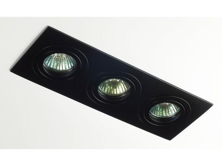 Potrójna sufitowa ruchoma podtynkowa oprawa 3x MR16 GU10 czarna Kolor Czarny Oprawa halogenowa Oprawa stropowa Prostokątne Oprawa ruchoma Kategoria Oprawy oświetleniowe