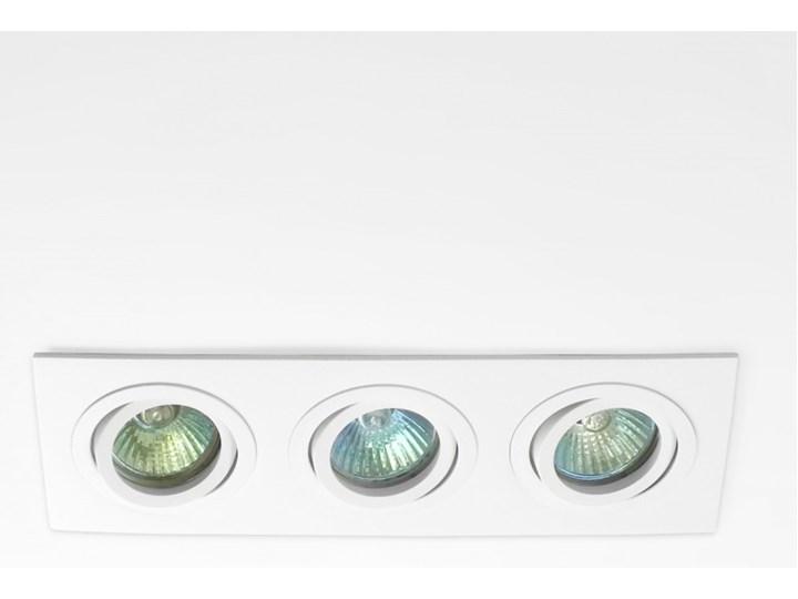 Potrójna sufitowa ruchoma podtynkowa oprawa 3x MR16 GU10 biała Kolor Biały Oprawa stropowa Oprawa ruchoma Prostokątne Oprawa halogenowa Kategoria Oprawy oświetleniowe