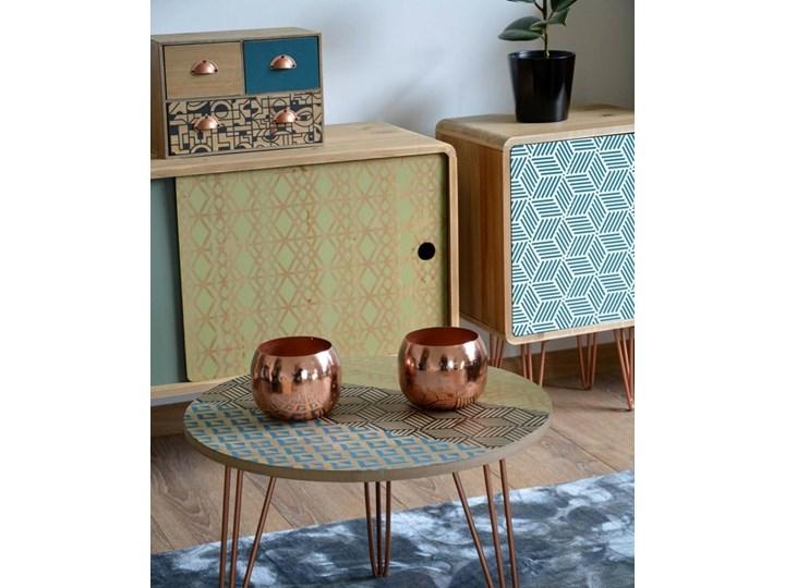 Portofino 043B Stolik vintage Metal Drewno Wysokość 37 cm Kolor Wielokolorowy