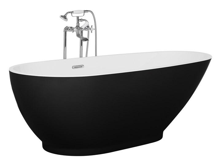 Wanna wolnostojąca czarna akrylowa 167 x 82 cm owalna Wolnostojące Długość 173 cm Kategoria Wanny