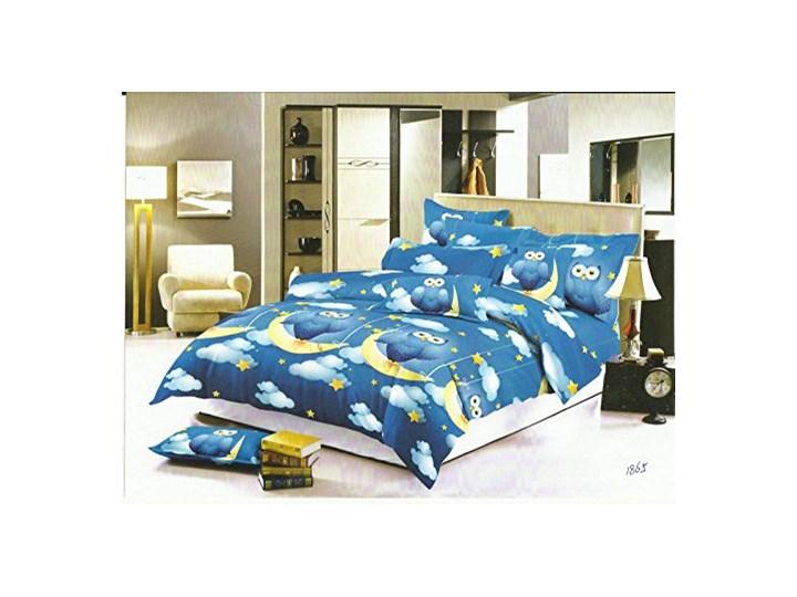 DecoKing - Pościel Bawełniana Ciemnoniebieska NOCNE SOWY WZORY DZIECIĘCE 160x200 cm