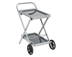Barek na kółkach do kuchni, metalowy wózek ogrodowy, kolor srebrnoszary