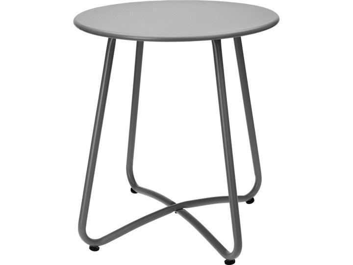 Okrągły Stolik Ogrodowy Z Metalu W Szarym Kolorze Solidny Mebel Do Ogrodu Lub Stolik Na Balkon