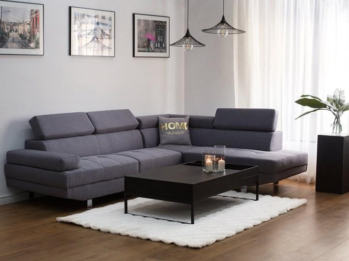 Narożnik lewostronny szary tapicerowany 5 osobowa sofa z regulowanymi zagłówkami Nóżki Na nóżkach W kształcie L Boki Z bokami