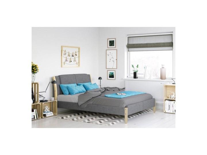 łóżko Tapicerowane Lucca 140x200 Szare Tkanina Materac
