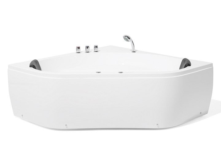 Wanna z hydromasażem biała narożna 55 x 140 cm wolnostojąca oświetlenie LED Stal Akryl Symetryczne Kolor Biały Wolnostojące Kategoria Wanny