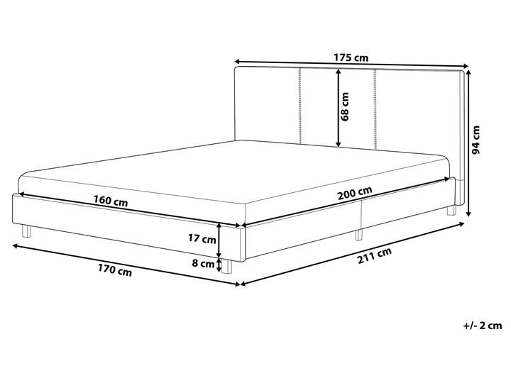 Łóżko szare tapicerowane 160 x 200 cm dwuosobowe ze stelażem i zagłówkiem Łóżko tapicerowane Kategoria Łóżka do sypialni
