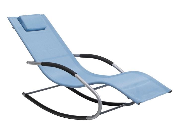 Leżak ogrodowy niebieski bujany ogrodowy na płozach z poduszką zagłówkiem