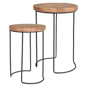 Zestaw loftowych stolików kawowych Zama - naturalne