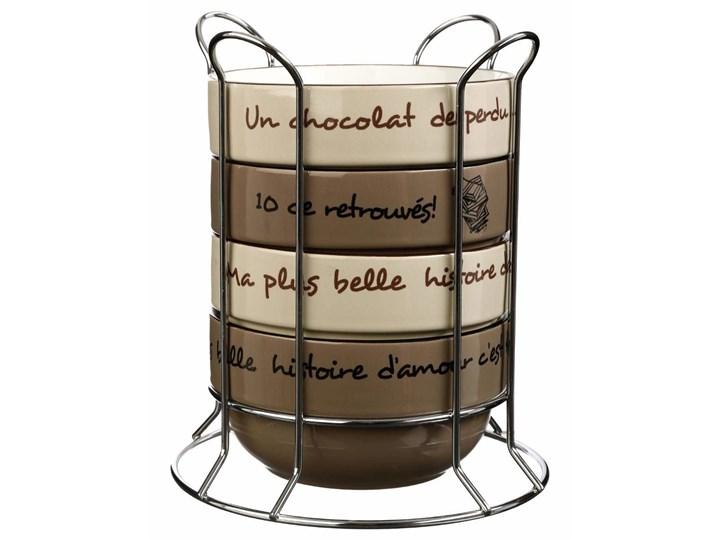 Zestaw 4 ceramicznych miseczek deserowych ze stojakiem, kolor beżowy i brązowy
