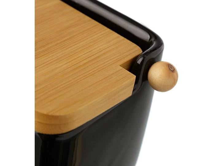 Czarny pojemnik kamionkowy na sól z bambusowym wieczkiem Unimasa 250 ml Na produkty sypkie Typ Pojemniki Drewno Ceramika Kategoria Pojemniki i puszki