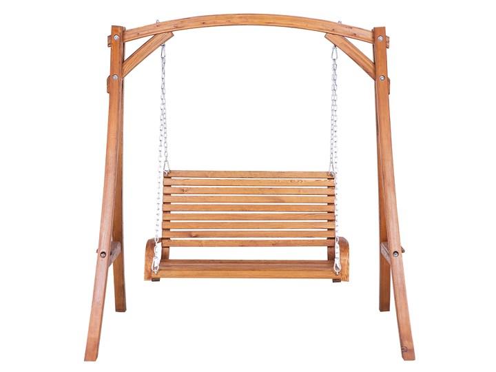 Huśtawka ogrodowa drewniana miejsce na 2 osoby tradycyjny rustykalny design Kategoria Huśtawki ogrodowe Materiał stelaża Drewno