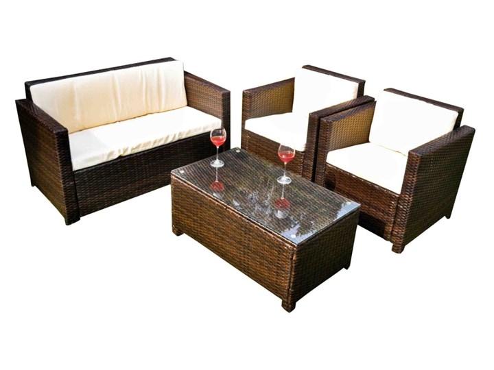 Zestaw ogrodowy CALMO brązowy technorattan Tworzywo sztuczne Zestawy wypoczynkowe Kategoria Zestawy mebli ogrodowych Stal Zawartość zestawu Sofa