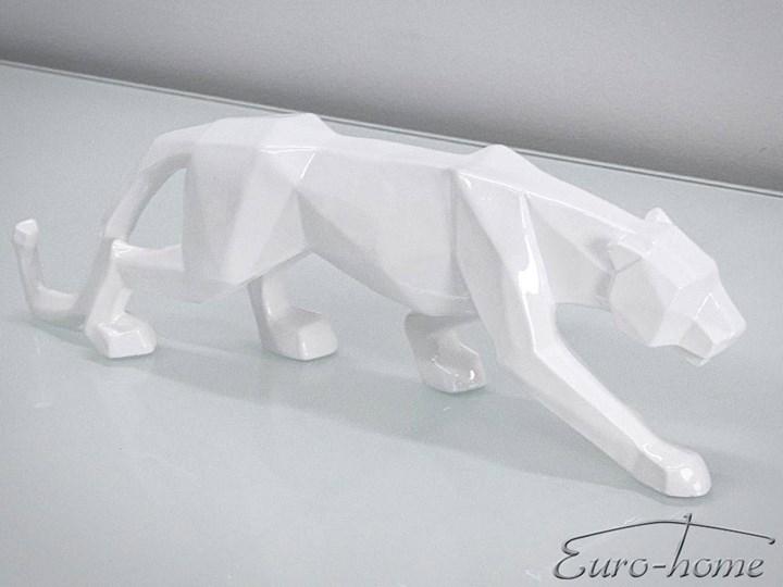 FIGURA A109 PUMA 44x24x9cm BIAŁA Metal Żywica Kolor Biały Zwierzęta Drewno Kategoria Figury i rzeźby