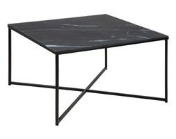 Kwadratowy stolik kawowy na czarnej podstawie Alisma Black / Black Marable