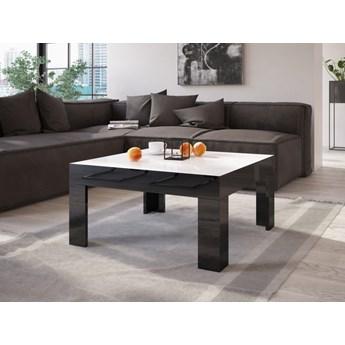 Stolik do salonu w wysokim połysku Simple 80x80 z białym blatem i czarnymi nogami