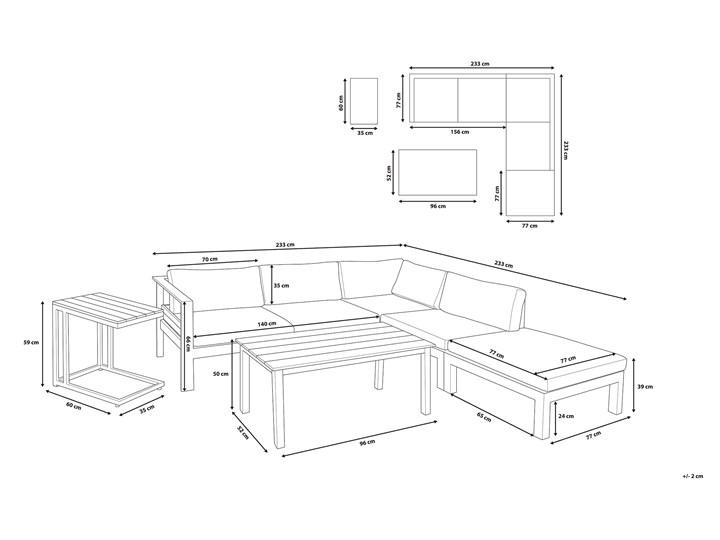 Zestaw mebli ogrodowych 6-osobowy biały aluminium zielone poduszki narożnik pufa stół stolik Zestawy modułowe Zestawy wypoczynkowe Tworzywo sztuczne Kolor Zielony