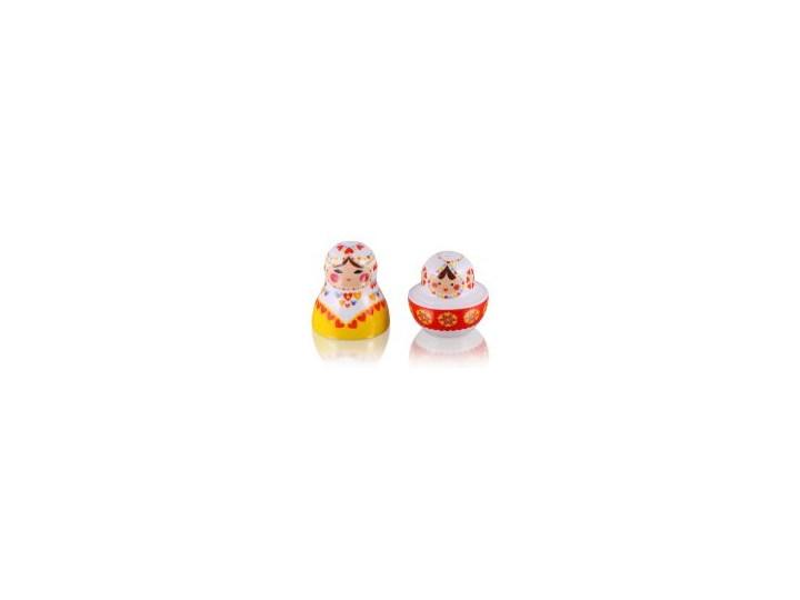 Zestaw solniczka i pieprzniczka - Matrioszka Baba Kategoria Przyprawniki Ceramika Zestaw do przypraw Kolor Czerwony