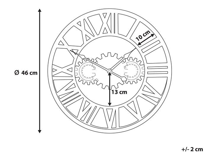 Zegar ścienny srebrno-złoty żelazny rzymskie cyfry Ø 46 cm industrialny design Metal Okrągły Pomieszczenie Salon