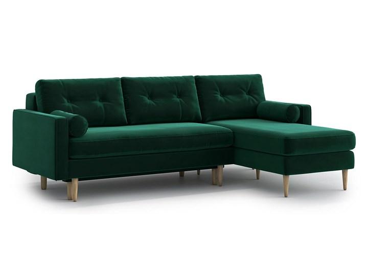 Narożnik Esme z szezlongiem i funkcją spania (uniwersalny), Bottle Green Kolor Zielony Nóżki Na nóżkach