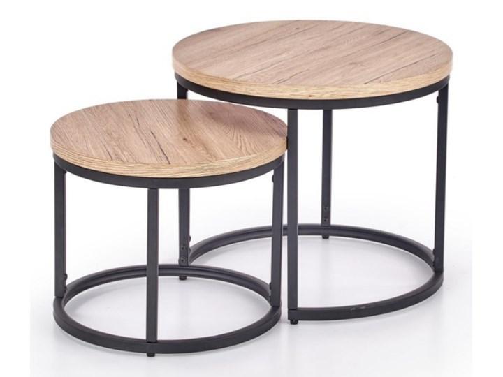 SELSEY Zestaw stolików kawowych Yese o średnicy 53cm i 43 cm dąb san remo - czarny