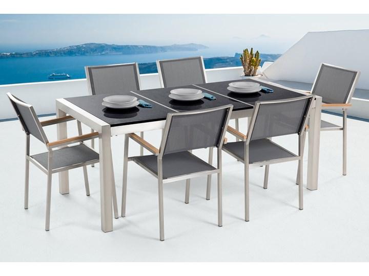 Zestaw mebli ogrodowych jadalniany czarny stół granit/bazalt 180 x 90 cm 6 krzeseł szarych tekstylnych sztaplowanych Stal Stoły z krzesłami Tworzywo sztuczne Zawartość zestawu Krzesła Kategoria Zestawy mebli ogrodowych