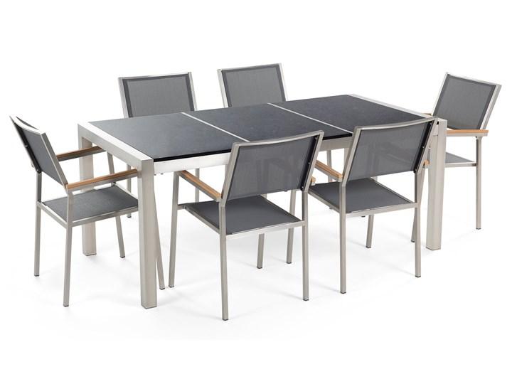 Zestaw mebli ogrodowych jadalniany czarny stół granit/bazalt 180 x 90 cm 6 krzeseł szarych tekstylnych sztaplowanych Stoły z krzesłami Stal Tworzywo sztuczne Styl Nowoczesny Kategoria Zestawy mebli ogrodowych