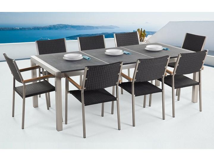 Zestaw mebli ogrodowych jadalniany szary stół granit/bazalt 220 x 100 cm 8 czarnych krzeseł z technorattanu sztaplowanych Stal Stoły z krzesłami Kategoria Zestawy mebli ogrodowych Styl Nowoczesny