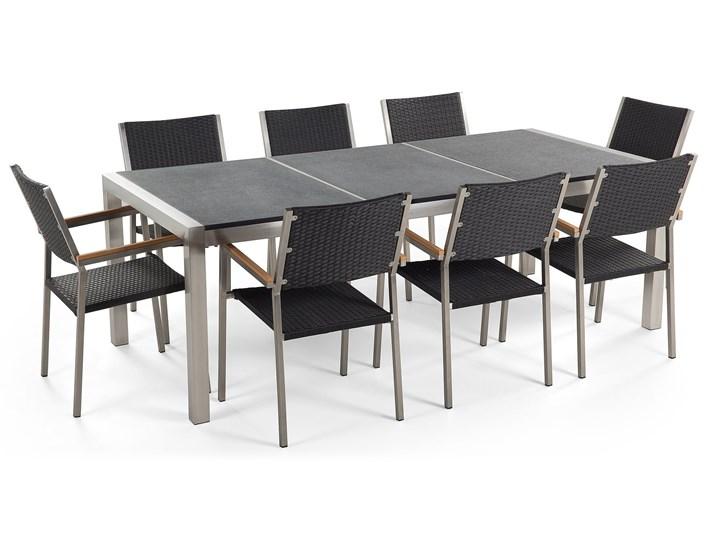 Zestaw mebli ogrodowych jadalniany szary stół granit/bazalt 220 x 100 cm 8 czarnych krzeseł z technorattanu sztaplowanych Stoły z krzesłami Stal Styl Nowoczesny