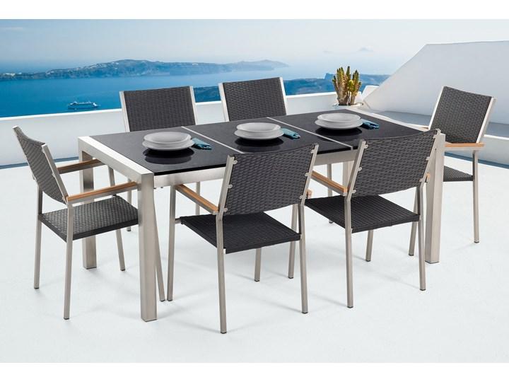 Zestaw mebli ogrodowych jadalniany czarny stół granit/bazalt 180 x 90 cm 6 krzeseł z technorattanu sztaplowanych Stal Stoły z krzesłami Styl Nowoczesny