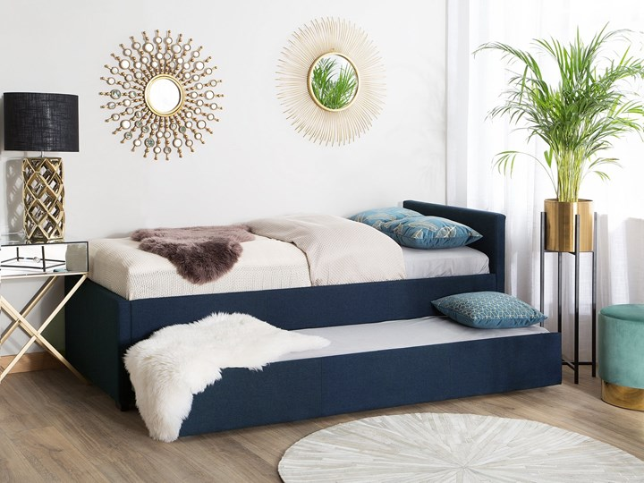 Łóżko dziecięce wysuwane ze stelażem ciemnoniebieskie tapicerowane tkaniną 90 x 200 cm Drewno Tworzywo sztuczne Kategoria Łóżka dla dzieci