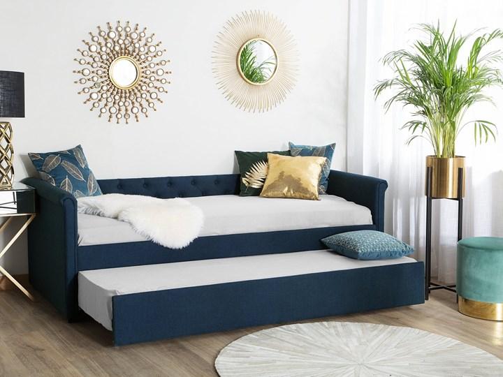 Łóżko dziecięce wysuwane ze stelażem ciemnoniebieskie tapicerowane tkaniną pikowane oparcie 90 x 200 cm Drewno Tworzywo sztuczne Rozmiar materaca 90x200 cm