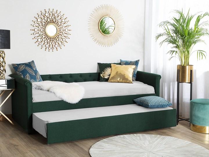 Łóżko dziecięce wysuwane ze stelażem ciemnozielone tapicerowane tkaniną pikowane oparcie 90 x 200 cm Drewno Rozmiar materaca 90x200 cm Tworzywo sztuczne Kolor Zielony