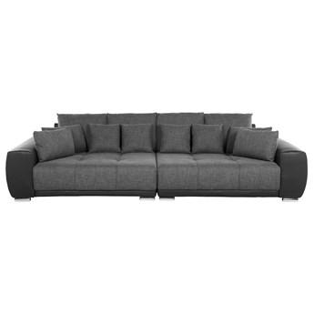 Sofa szara 4-osobowa dodatkowe poduszki srebrne nogi styl nowoczesny