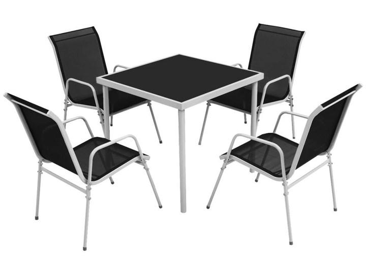 Zestaw ogrodowy stół + 4 krzesła Luanda szary/czarny Stal Stal Stoły z krzesłami Zawartość zestawu Z krzesłem Zawartość zestawu Ze stołem